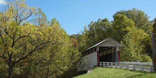 covered bridge pennsylvania river mountain